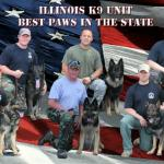 "Our patient Officer ""Alpha"" on the far left with his handler Officer Lanz, and the rest of the Illinois K9 Unit (including our friend, top center, Officer Aron and his handler from Plainfield, and Ellen's uncle, lower center, Officer Dermody and the late Lobo)."